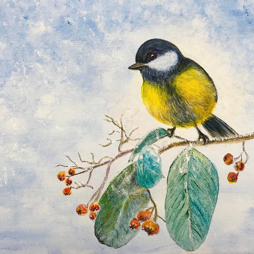 "Paint & Sip Night: ""The Wintry Bird"" Fri, Nov 29th (7pm - 9:30pm)"