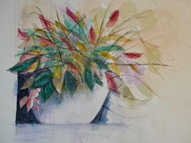 Flowers in Pot - Watercolor
