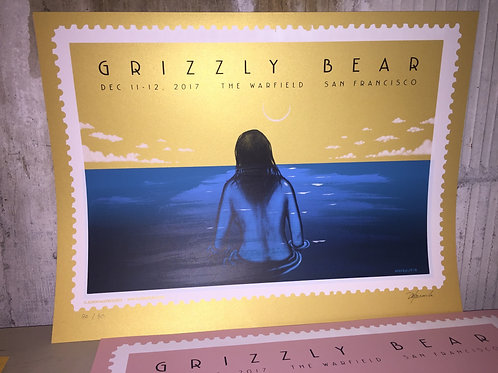 GRIZZLY BEAR - Hand Painted / Screen Print (edition of 80)