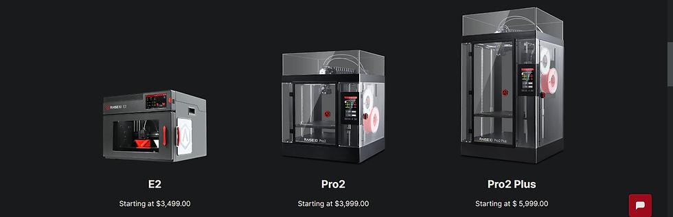 Raise3D printer lineup