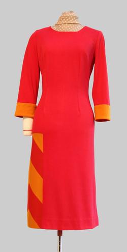Robe en jesey  ponté  rouge épicé