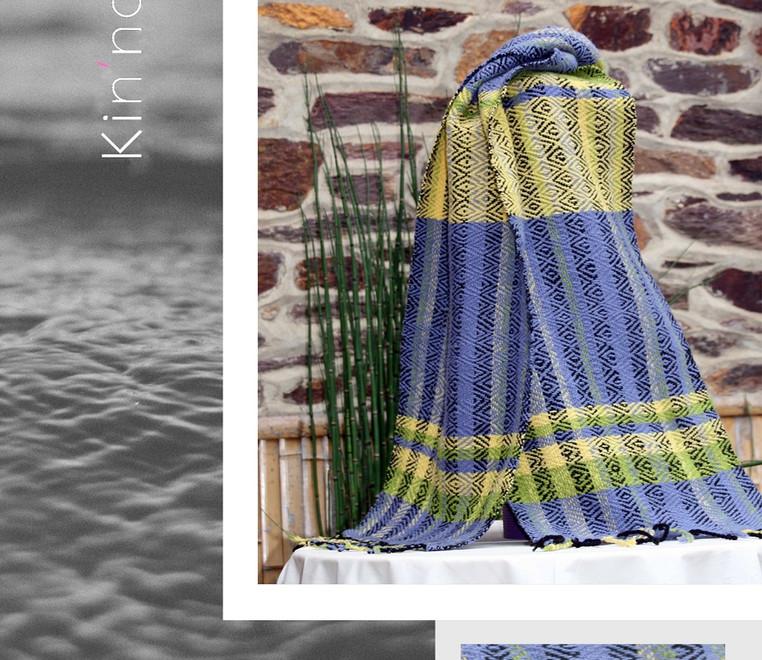 écharpe laine pervenche et lime