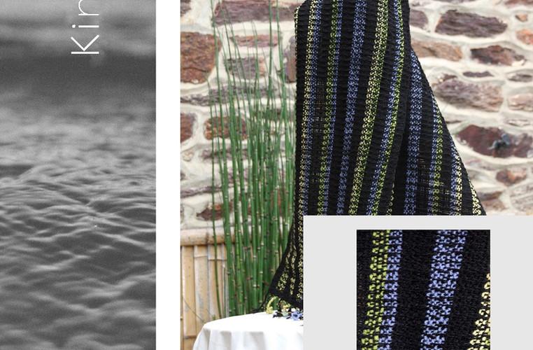 écharpe noire  pure laine à rayures perv