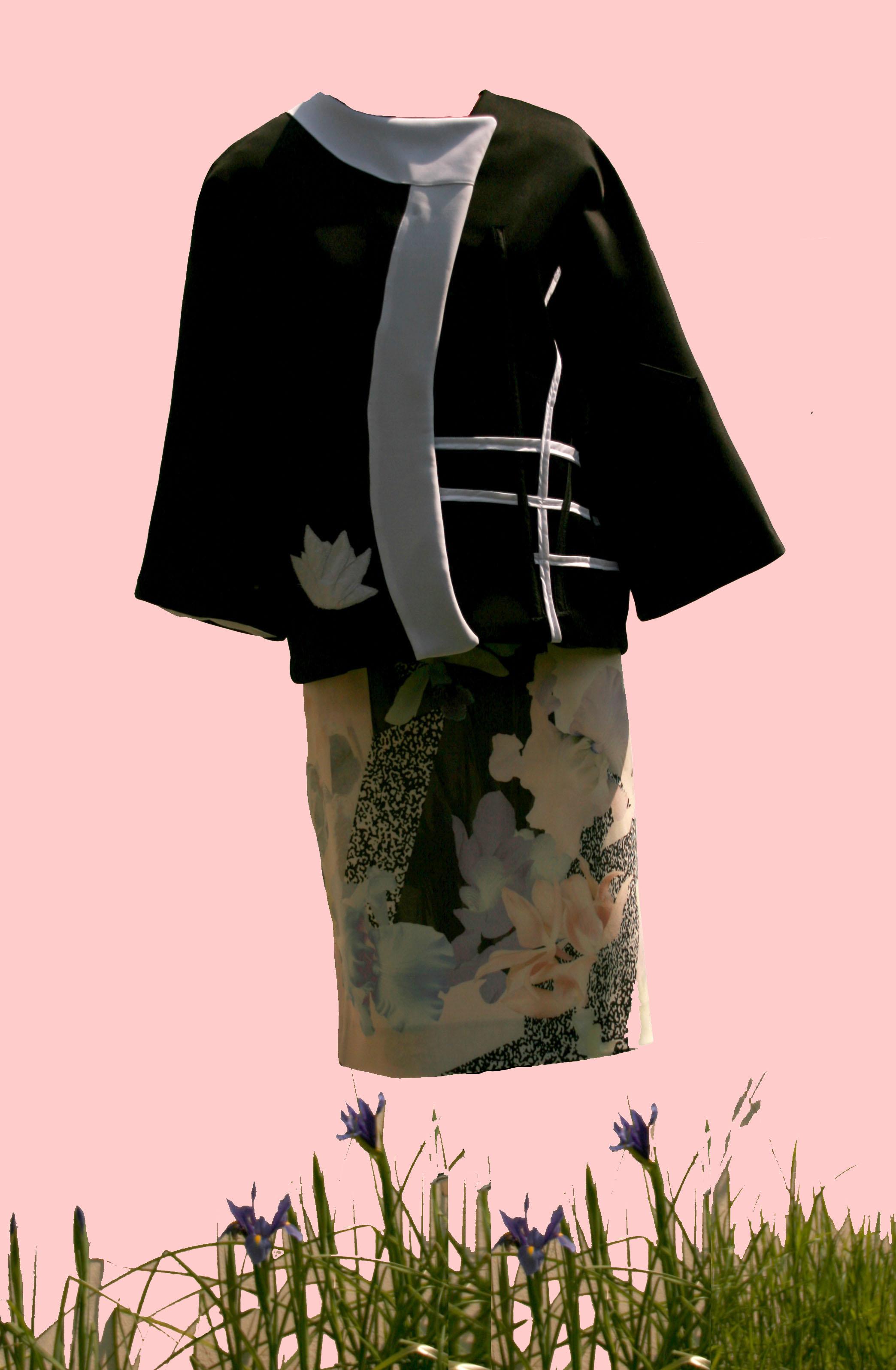 jupe  fleurie et  veste kimono