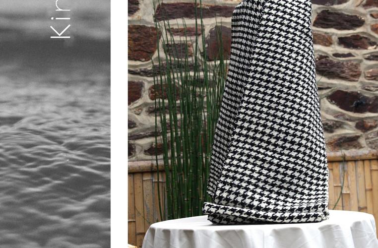 écharpe pure laine pied de poule noir et