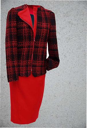 Tailleur  tweed rouge esprit Perfecto