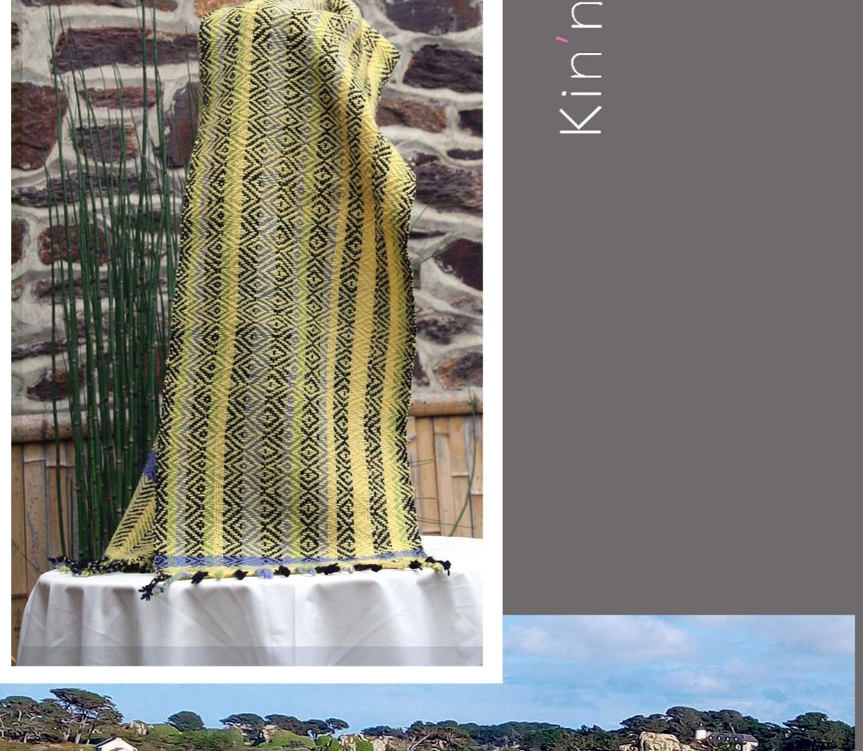 écharpe jaune acidulée, motifs géométriq