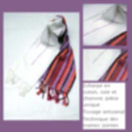 KinnoTé_écharpe--building aux motifs originaux en coton et  soie multicolore très  fluide et  douce