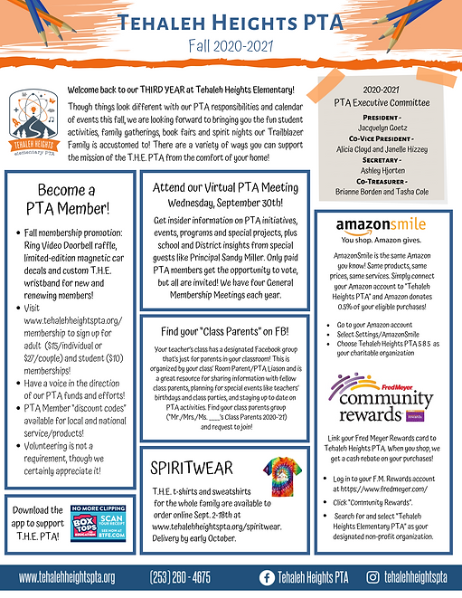 Tehaleh Heights PTA 2019-2020_Fall Newsl