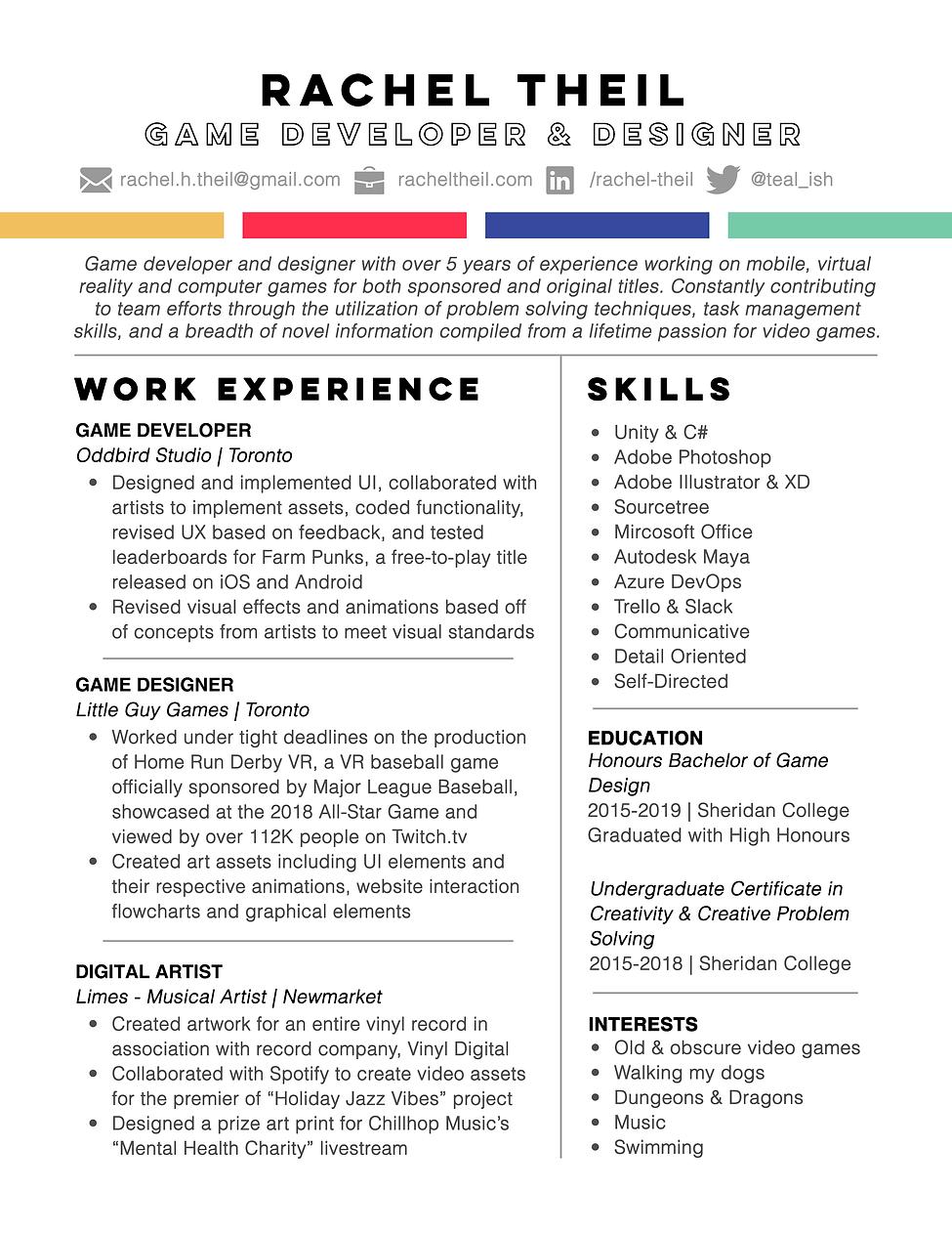 Game Developer & Designer Resume -  Rach