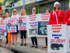 Women Against Dairy Protest - Brisbane Ice Cream Festival 2021