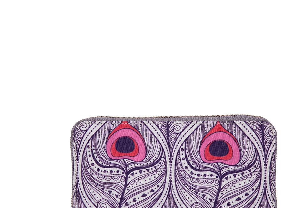 Peacock print zip around wallet