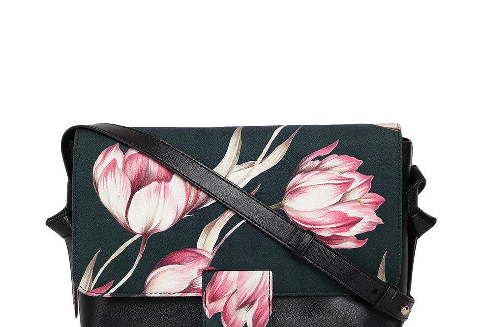 Black & Pink Printed Sling Bag