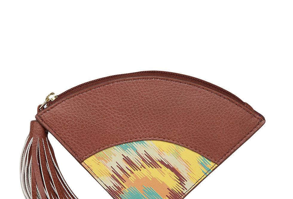 Women Yellow & Brown Printed Zip Around Wallet