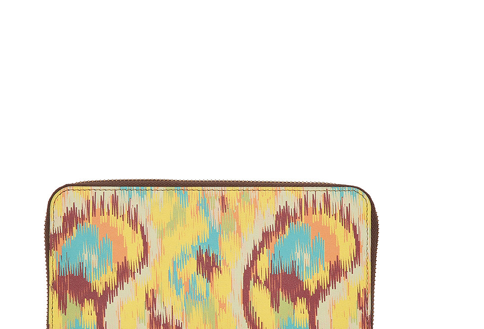 Ikat Print Zip Around Wallet