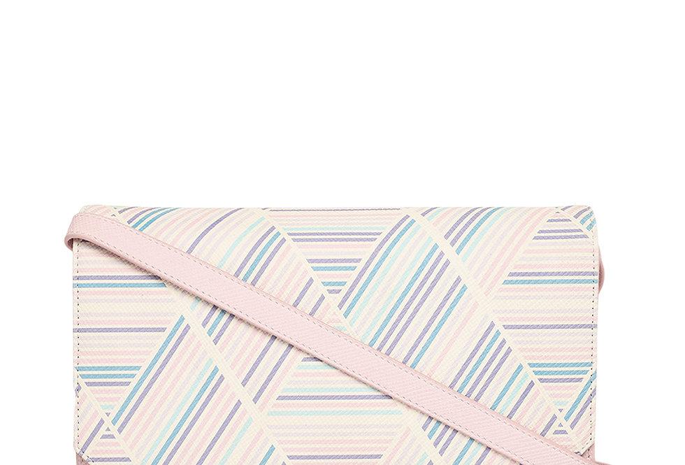 Soft Strip Print Clutch