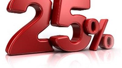25% på dragt