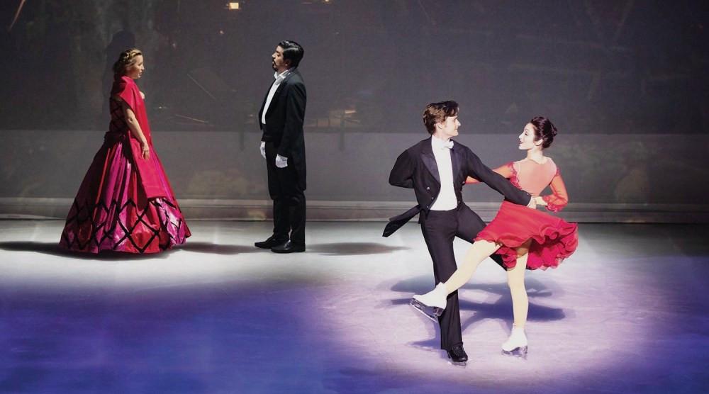 2014 Olympic ice skating champions Charlie White and Meryl Davis with soprano Martina Bortolotti and tenor Francisco Brito