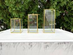 Sophia Glass Trim Lantern Set