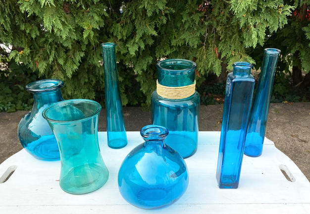 Assorted Blue Vases