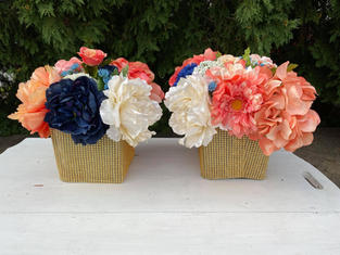 Navy and Coral Faux Centerpieces