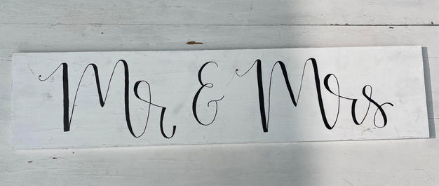Wood Mr. and Mrs. Sign