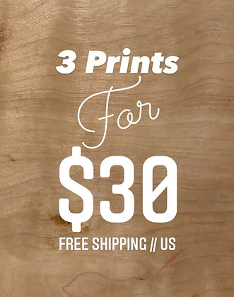3 Prints for $30