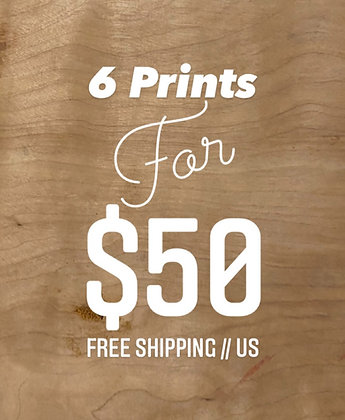 6 Prints for $50