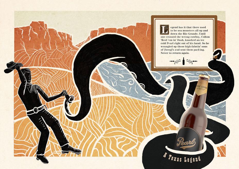 Pearl Beer Print Ad - Sea Monster