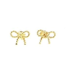 Tiffany's 18K Yellow Gold Twist Bow Lovely Mini Stud Earring