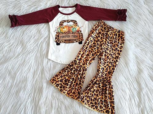 Kids Fashion Syle Winter Fall Long Sleeve Outfit Girl Pumpkin Farm