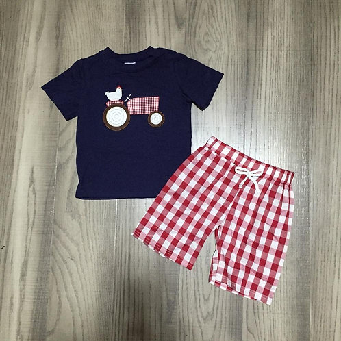 Baby Boy Chick Chook Shirt With Red Plaid Shorts