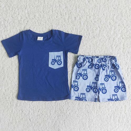 2PCS Infant Baby Boys Children Clothes Farm Design Sleeve Tops Pants Summer