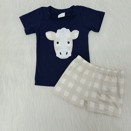 Baby Boy Clothes Farm Cow Print Embroidery Boutique Kids