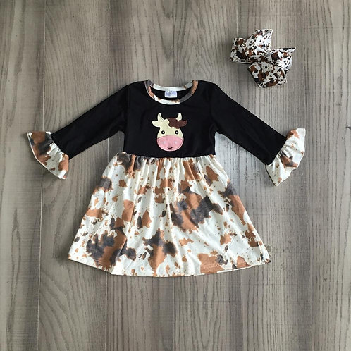 Girlymax Fall/Winter Baby Girls Children Clothes Boutique Black Cow Cotton