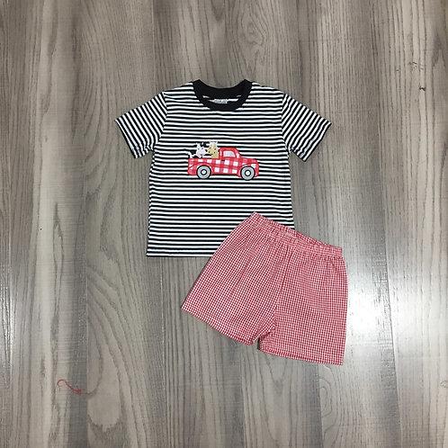 Girlymax Summer Baby Boys Short Sleeve Cotton Black Red Stripe Farm Yard