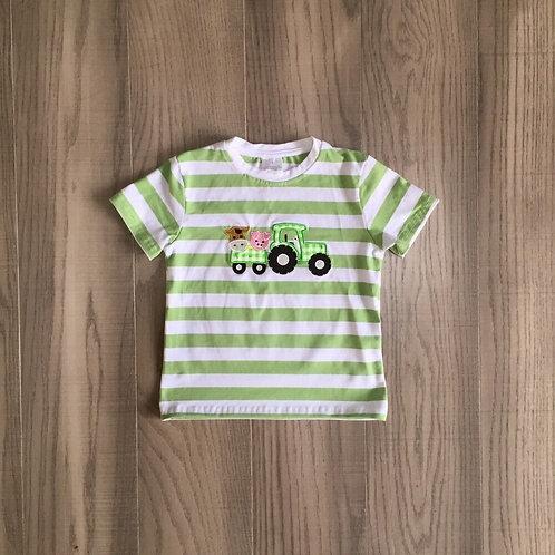 Baby Boys Farm Green Stripe Shirt Kids Farm Truck