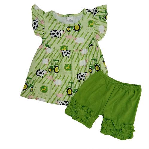 Infant Toddler Girls Children Green Cow Fly Sleeve Ruffles Pants Set Summer Farm