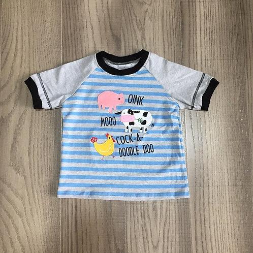 Baby Boys Summer Clothes Farm T-Shirts Baby Kids Stripe Blue Top Pig Milk Cow