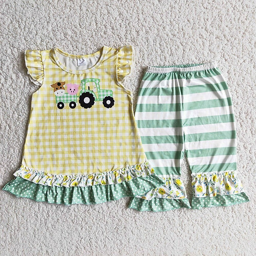 Boutique Girl Fashion Farm Style Clothes Toddlers Flutter Sleeve Top and Stripes