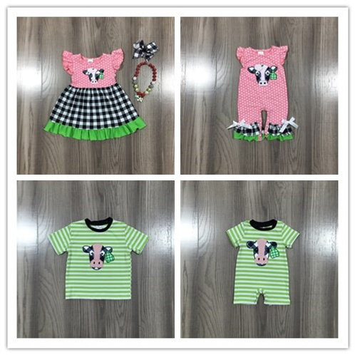 Spring Summer Baby Kids Farm Cow Embroidered Series Clothes