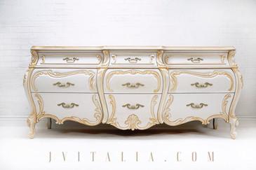 design by Jenifer Vitalia Design - gold and cream rococo dresser