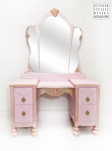 Antique Makeup Vanity Pink and Gold  - Jennifer  Vitalia Design