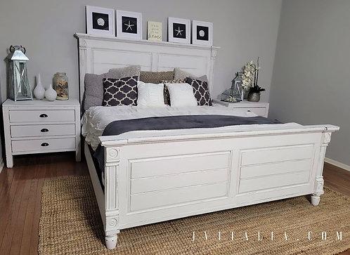 White king bedframe coastal farmhouse bed