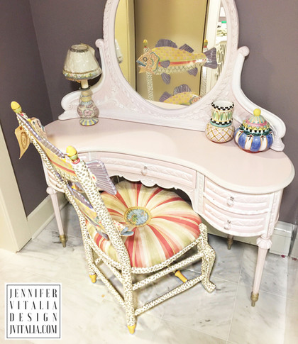 make up vanity antique painited- Jennifer Vitalia Design