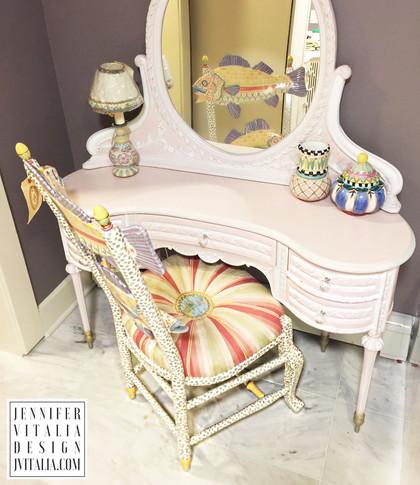 make up vanity antique painited- Jennifer Vitalia Design
