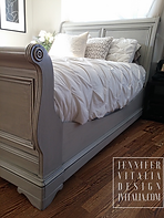 JENNIFER VITALIA DESIGN GREY SLEIGH BED