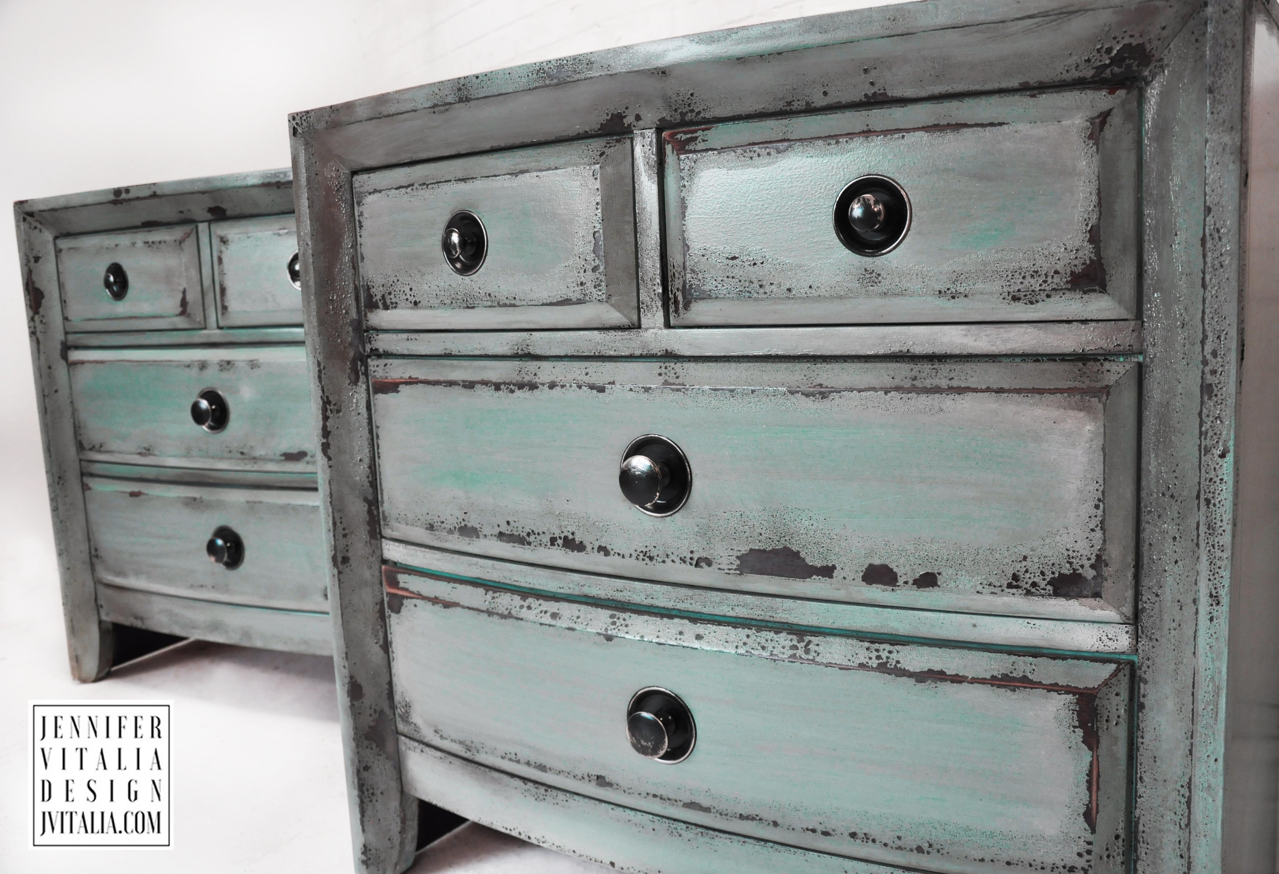 teal painted nightstands