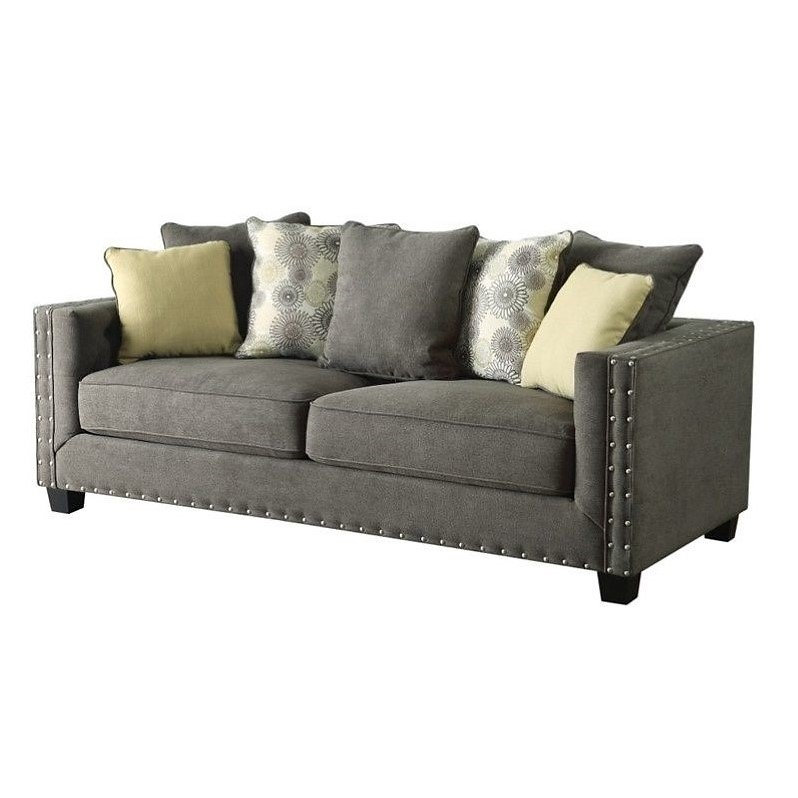 Contemporary Charcoal Fabric Sofa, Tufted Back