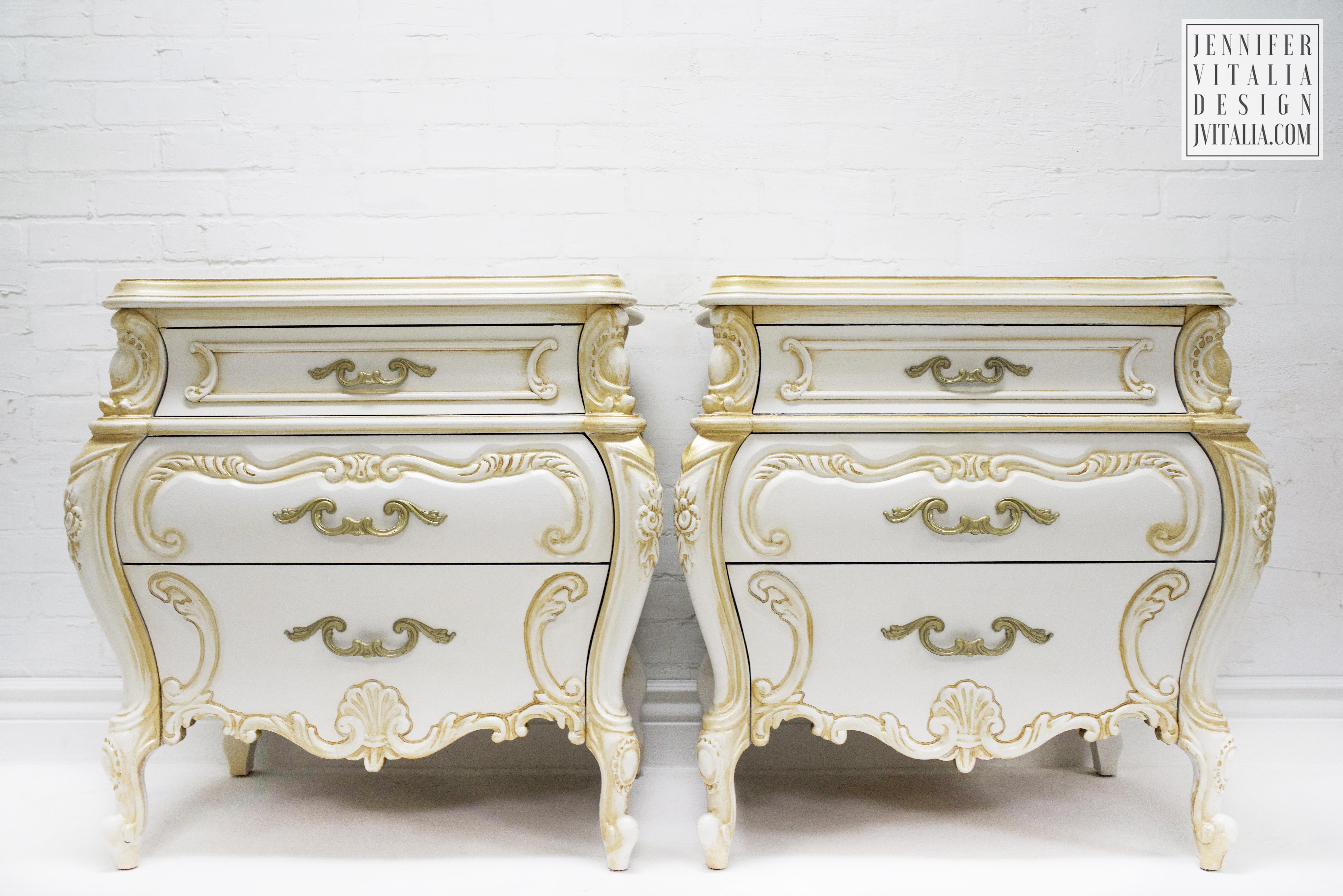 rococo antique nightstands gold and cream Jennifer Vitalia design
